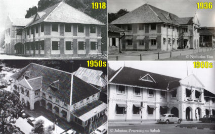 Sabah Tourism Board building in different time (1918, 1936, 1950s, 1960s)
