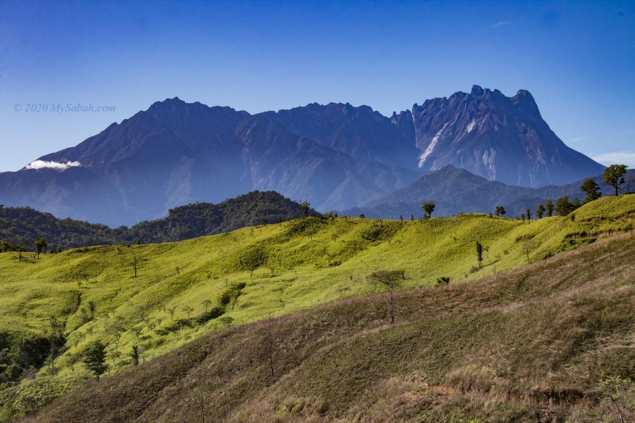 Mount Kinabalu behind the hills near Bukit Bendera