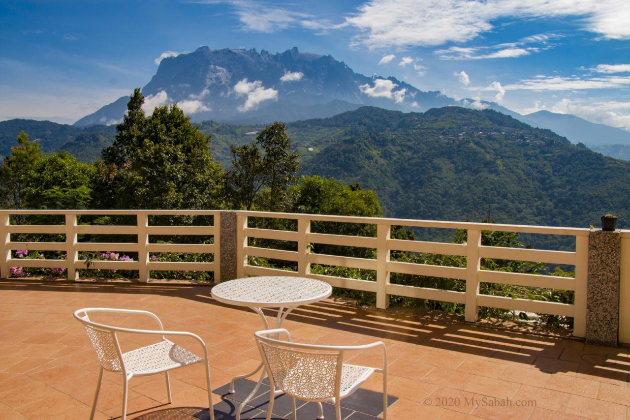 Balcony with Mount Kinabalu view