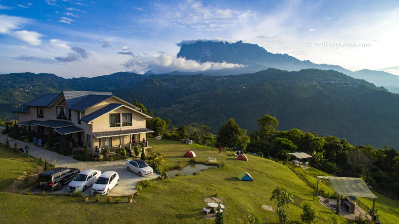 Hounon Ridge, camping ground and Mount Kinabalu