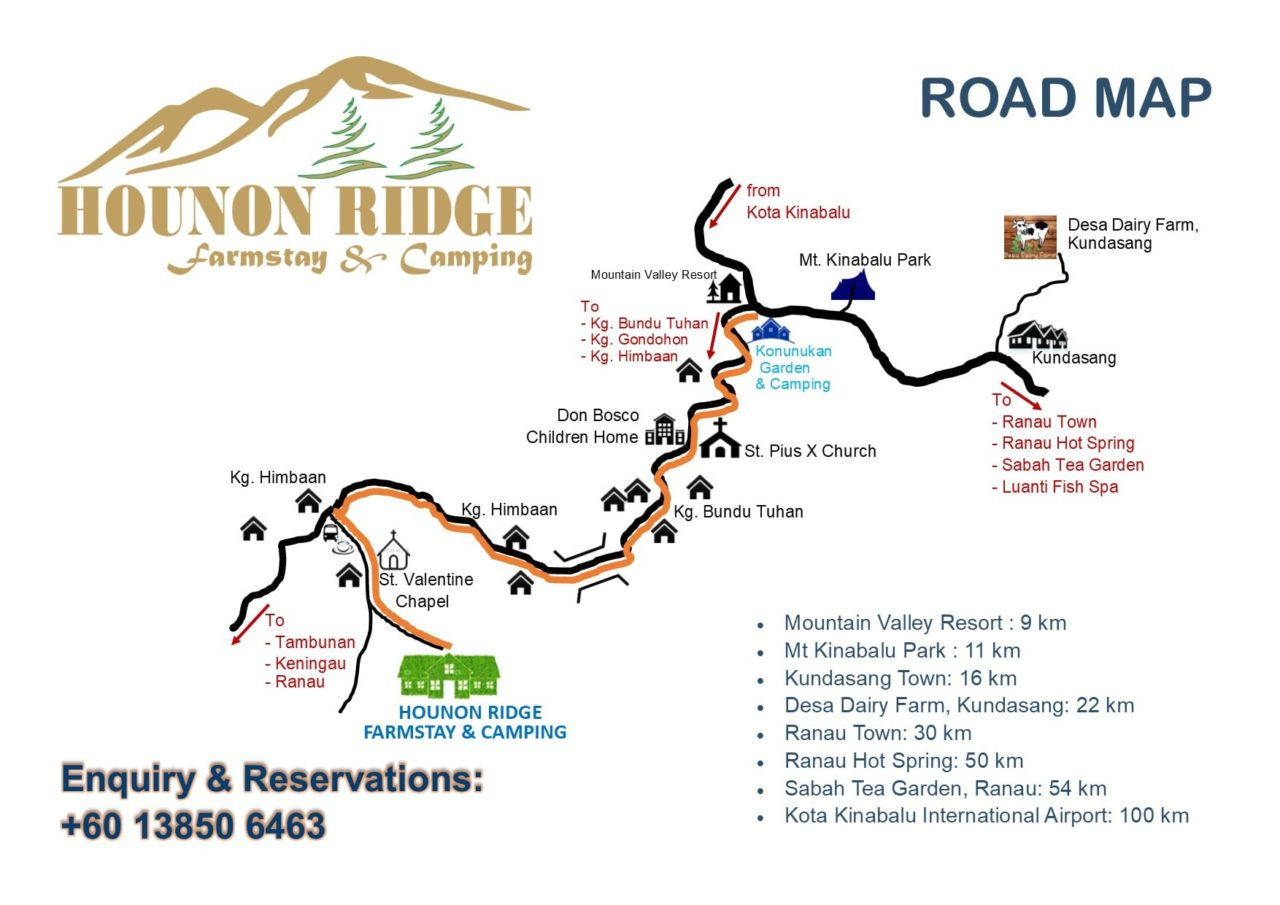 Road map to Hounon Ridge