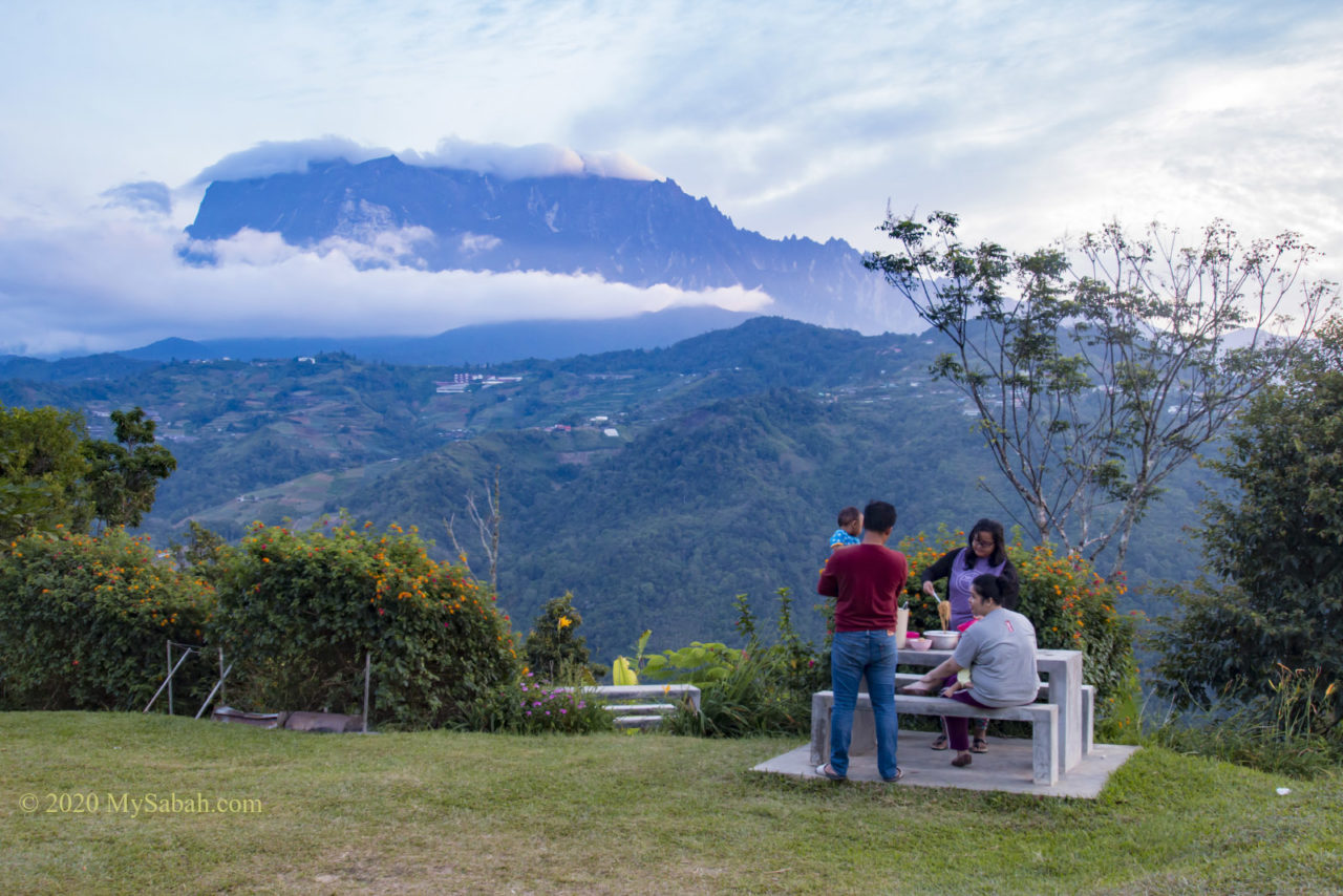 Family breakfast with Mount Kinabalu view