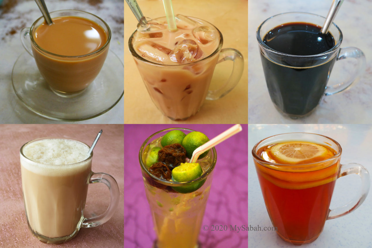 Common drink you can order in Sabah Coffee Shop. From left to right: Teh-C, Teh-C Ping, Kopi-O, Teh Tarik, Kit Chai Ping, Lemon Tea