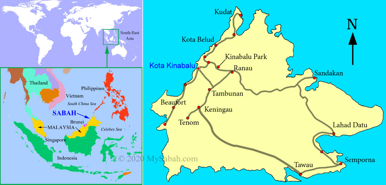 Location map of Sabah and its major roads