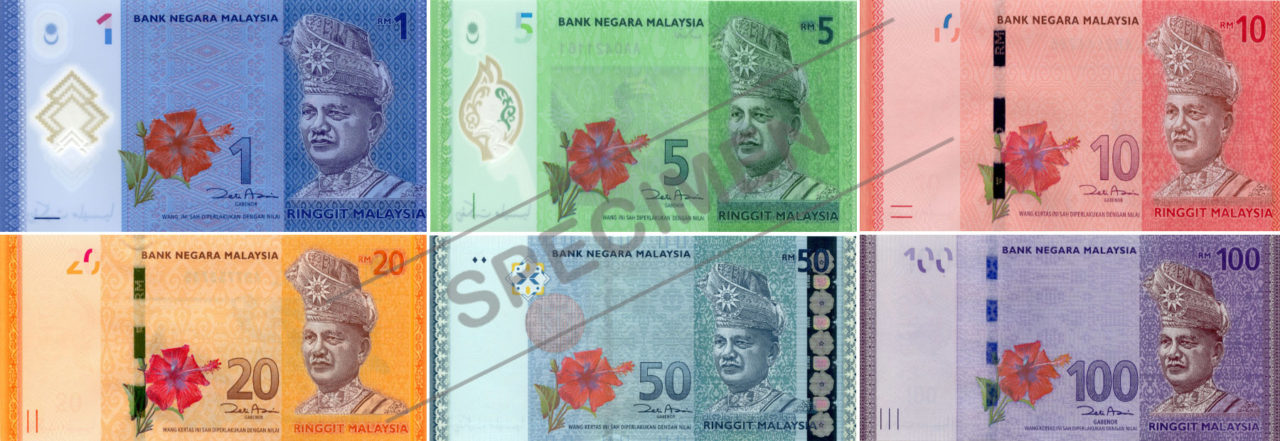 Malaysia Ringgit Banknotes in RM1, RM5, RM10, RM20, RM50 and RM100