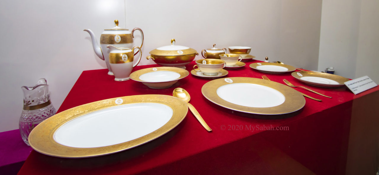Utensils with gold embroidery and Sabah crest