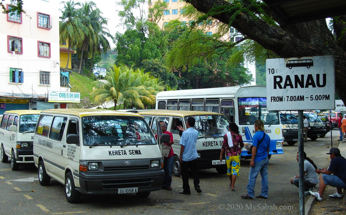 Mini-bus station near Padang Merdeka Field in Kota Kinabalu City Centre