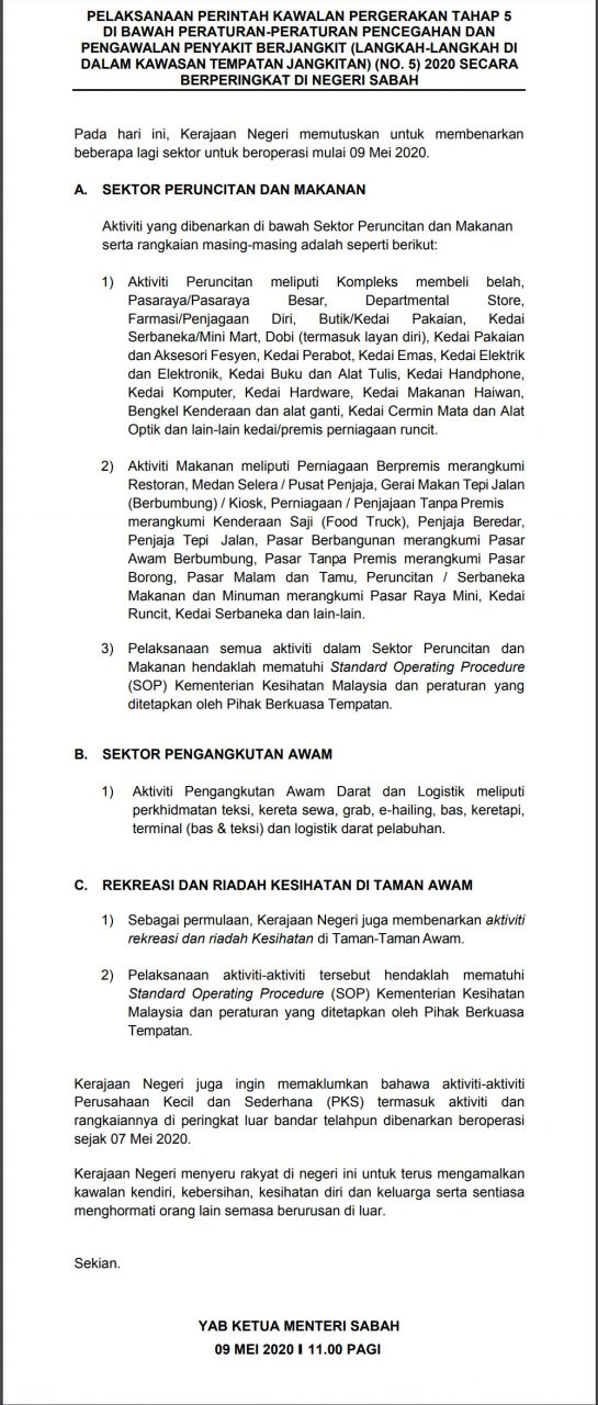 Latest instructions from Sabah Chief Minister Department (9 May 2020)